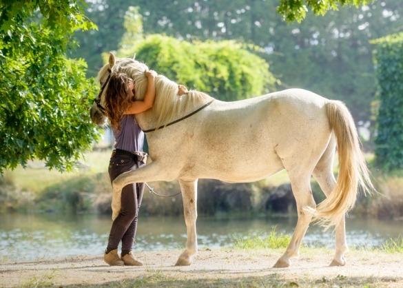 Meisje knuffelt elegant paard aan de waterkant