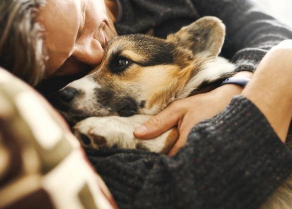Baasje knuffelt zijn hond