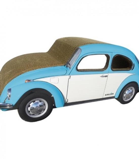 Krabkarton in de vorm van een Volkswagen Beetle