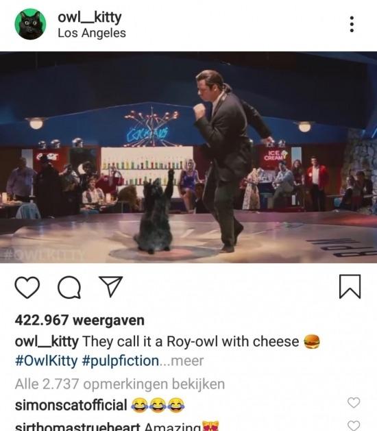 Owl Kitty danst met John Travolta in Pulp Fiction