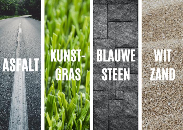 Verschillende ondergronden die te warm kunnen worden: asfalt, kunstgras, blauwe steen en wit zand